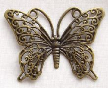 Antique Gold Plated Filigree Links 36 x 26mm Butterfly - 2